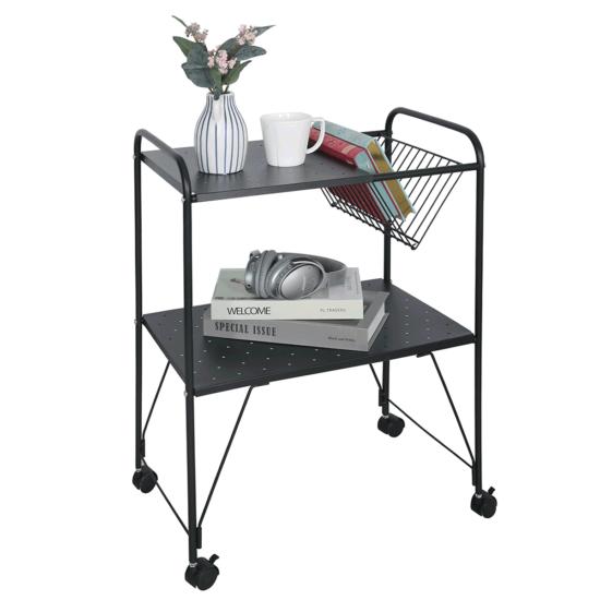 KORETE Mozgatható kisasztal - többfunkciós - fém/műanyag,  fekete