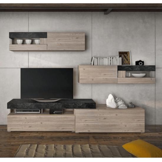 IOVA Nappali szekrénysor - DTD laminált,  beton/nelson tölgyfa