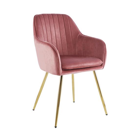 ADLAM Dizájn fotel,  rózsaszín Velvet szövet/gold króm-arany