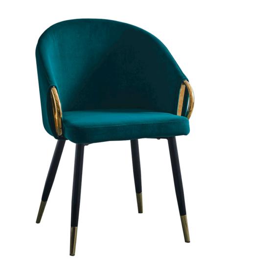 DONKO Dizájn fotel,  smaragd velvet szövet/gold króm arany