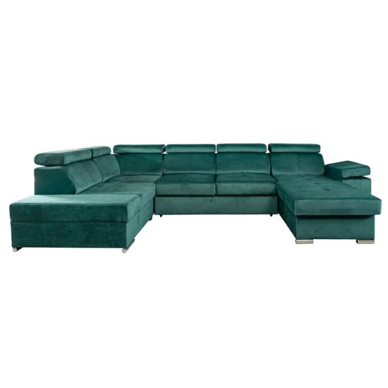 LAMORA Ülőgarnitúra - smaragd,  jobbos [U]