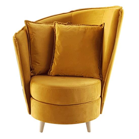 ROUND Fotel Art Deco stílusban,  mustár színű Riviera szövet/tölgy [NEW]