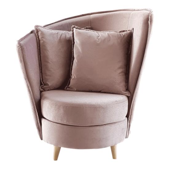 ROUND Fotel Art Deco stílusban,  rózsaszín Kronos szövet/tölgy [NEW]