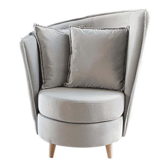 ROUND Fotel Art Deco stílusban,  világosszürke Paros szövet/tölgy [NEW]