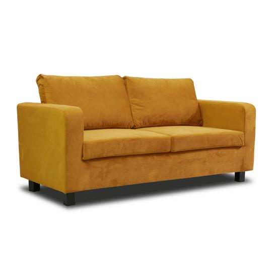 LUANA Teljesen kárpitozott heverő - 3-as ülés,  mustár színű szövet
