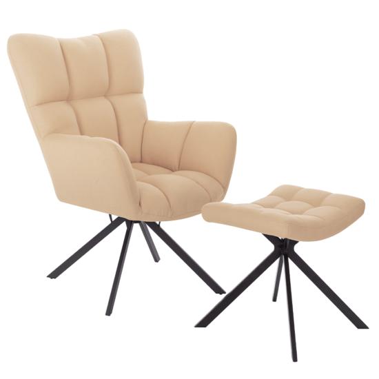 KOMODO Dizájnos forgó fotel lábtartóval,  bézs/fekete [TYP 2]