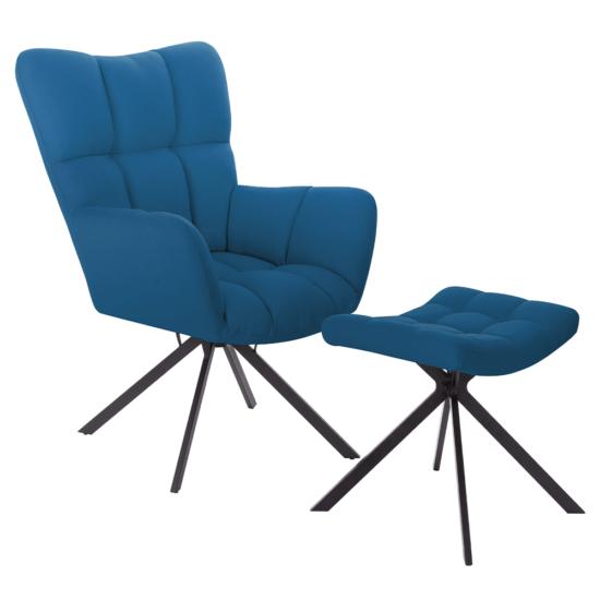 KOMODO Dizájnos forgó fotel lábtartóval,  petróleum zöld/fekete [TYP 2]