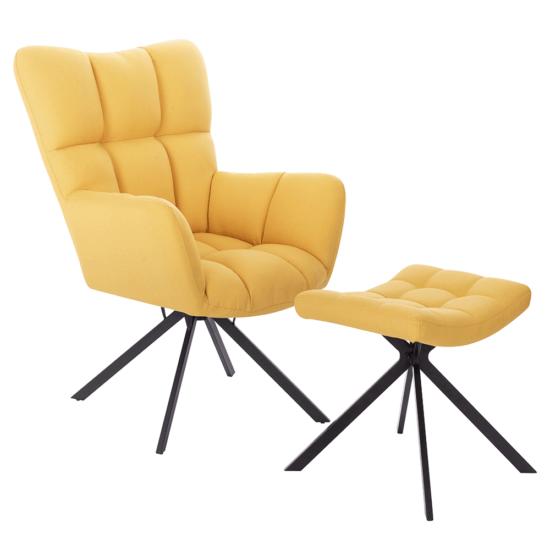 KOMODO Dizájnos forgó fotel lábtartóval,  sárga/fekete [TYP 2]