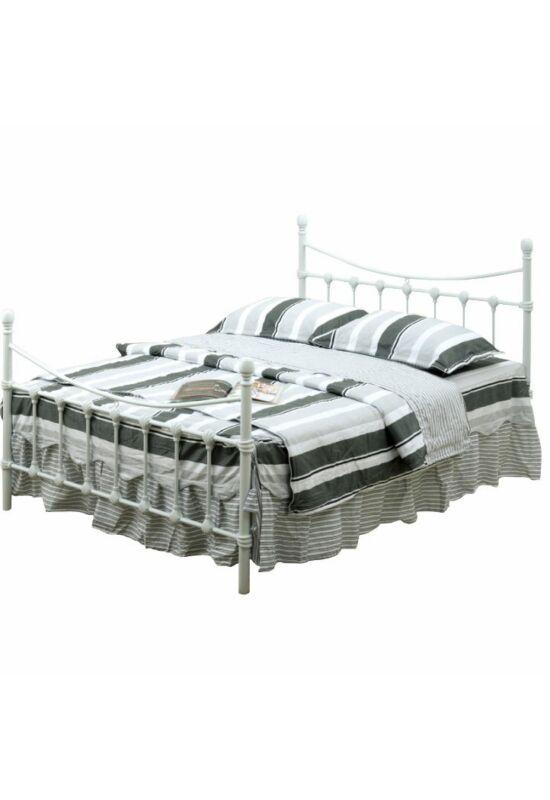 NIEVES Fém ágy lécezett ráccsal - fém (fehér) (90x200) [New]