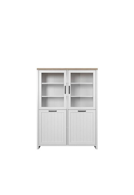 VERLA Alacsony vitrines szekrény ,fehér/tölgy köves,  Alacsony vitrines szekrény ,fehér/tölgy köves [2D2W]