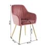 Kép 2/2 - ADLAM Dizájn fotel,  rózsaszín Velvet szövet/gold króm-arany