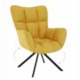 Kép 1/20 - KOMODO Dizájnos feorgó fotel,  sárga/fekete