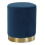 Kép 1/16 - ALAZ Puff,  kék Velvet anyag/gold króm-arany