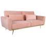 Kép 1/25 - HORSTA Széthúzhatós kanapé,  rózsaszín Velvet anyag/gold króm-arany