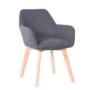 Kép 1/5 - CLORIN Dizájnos fotel,  sötétszürke/bükk [NEW]