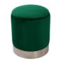 Kép 1/20 - DARON Puff,  zöld Velvet anyag/ezüst króm