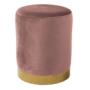 Kép 1/2 - ALAZ Puff,  rózsaszín Velvet anyag/gold króm-arany