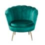 Kép 1/30 - NOBLIN Art-deco desing fotel,   smaragd bársony szövet/arany króm- arany