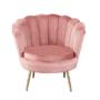Kép 1/13 - NOBLIN Art-deco desing fotel,  rózsaszín bársony szövet/arany króm- arany
