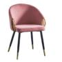Kép 1/3 - DONKO Dizájn fotel,  rózsaszín velvet szövet/gold króm arany