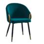 Kép 1/3 - DONKO Dizájn fotel,  smaragd velvet szövet/gold króm arany