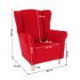 Kép 18/18 - CHARLOT Füles fotel,  piros