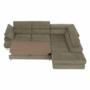 Kép 15/22 - BUTON Sarokülőgarnitúra ágyfunkcióval és ágyneműtartóval,   jobbos kivitelben, világos  barna szövet