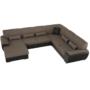 Kép 18/24 - EMILY U alakú ülőgarnitúra - barna szövet / barna textilbőr,  balos kivitelben [U]