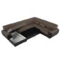 Kép 19/24 - EMILY U alakú ülőgarnitúra - barna szövet / barna textilbőr,  balos kivitelben [U]