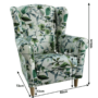 Kép 3/3 - CHARLOT Fotel,  minta levélzet - fa lábak