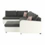 Kép 20/27 - KASTOR U alakú ülőgarnitúra - textilbőr fehér/ szövet szürke / pasztell rózsaszín,  bal oldali kivietl