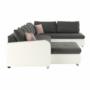 Kép 17/27 - KASTOR U alakú ülőgarnitúra,jobbos,  fehér textilbőr/szürke szövet/pasztell rózsaszín