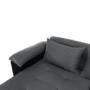 Kép 8/29 - LEMON U alakú ülőgarnitúra - ekobőr fekete/anyag világosszürke,  jobb [U]