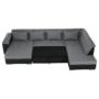 Kép 13/29 - LEMON U alakú ülőgarnitúra - ekobőr fekete/anyag világosszürke,  jobb [U]