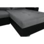 Kép 5/29 - LEMON U alakú ülőgarnitúra - fekete textilbőr/világos szürke szövet,  balos [U]