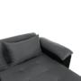 Kép 8/29 - LEMON U alakú ülőgarnitúra - fekete textilbőr/világos szürke szövet,  balos [U]