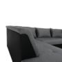 Kép 9/29 - LEMON U alakú ülőgarnitúra - fekete textilbőr/világos szürke szövet,  balos [U]