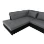 Kép 11/29 - LEMON U alakú ülőgarnitúra - fekete textilbőr/világos szürke szövet,  balos [U]