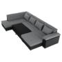 Kép 12/29 - LEMON U alakú ülőgarnitúra - fekete textilbőr/világos szürke szövet,  balos [U]