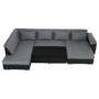 Kép 13/29 - LEMON U alakú ülőgarnitúra - fekete textilbőr/világos szürke szövet,  balos [U]
