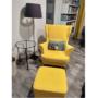 Kép 5/5 - RUFINO Puff elegáns stílusban,  18 sárga + wenge lábak