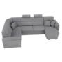 Kép 14/31 - BORN Szövetborítású luxus ülőgarnitúra - állítható fejtámlákkal - balos,  szövet Cablo 14 szürke