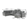 Kép 19/31 - BORN Szövetborítású luxus ülőgarnitúra - állítható fejtámlákkal - balos,  szövet Cablo 14 szürke