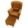 Kép 3/13 - ASTRID Füles fotel puffal,  szövet mustár