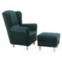 Kép 2/12 - ASTRID Füles fotel puffal,  szövet smaragd