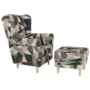 Kép 4/19 - ASTRID Füles fotel puffal,  szövet barna-zöld minta
