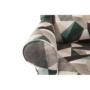 Kép 6/19 - ASTRID Füles fotel puffal,  szövet barna-zöld minta