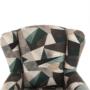 Kép 10/19 - ASTRID Füles fotel puffal,  szövet barna-zöld minta