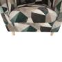 Kép 12/19 - ASTRID Füles fotel puffal,  szövet barna-zöld minta