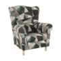 Kép 16/19 - ASTRID Füles fotel puffal,  szövet barna-zöld minta